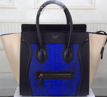 Celine Luggage Mini Tote Bag Snake Leather CTS3308 Royal&Black&OffWhite