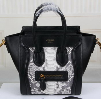 Celine Luggage Nano Bag Snake Leather CT3308S Black&White