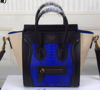 Celine Luggage Nano Bag Snake Leather CT3308S Blue&Black&OffWhite