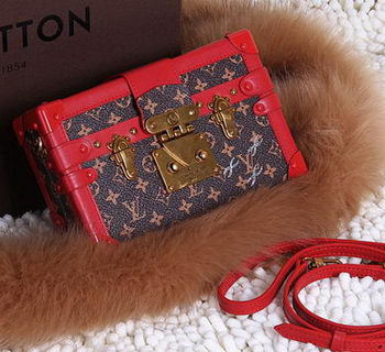 Louis Vuitton Petite Malle Monogram Canvas Bag M50016 Red