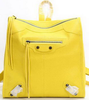 Balenciaga Backpack Yellow Litchi Leather B68335 Black
