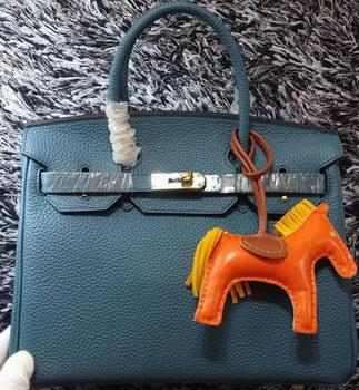Hermes Birkin 30CM Tote Bags Litchi Leather H30LI Blue