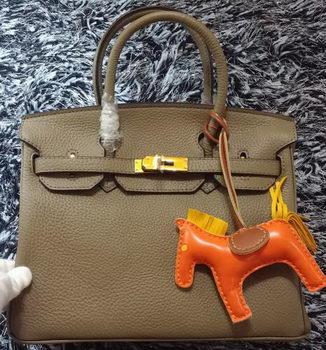 Hermes Birkin 30CM Tote Bags Litchi Leather H30LI Khaki