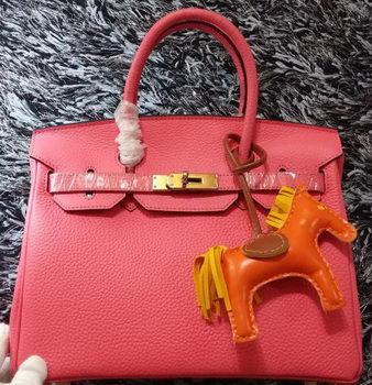 Hermes Birkin 30CM Tote Bags Litchi Leather H30LI Pink