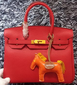 Hermes Birkin 30CM Tote Bags Litchi Leather H30LI Red