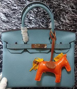 Hermes Birkin 30CM Tote Bags Litchi Leather H30LI Skyblue