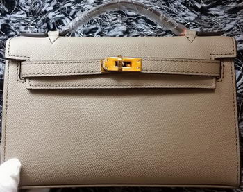 Hermes MINI Kelly 22cm Tote Bag Calf Leather K011 Grey