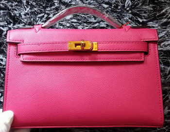 Hermes MINI Kelly 22cm Tote Bag Calf Leather K011 Rose