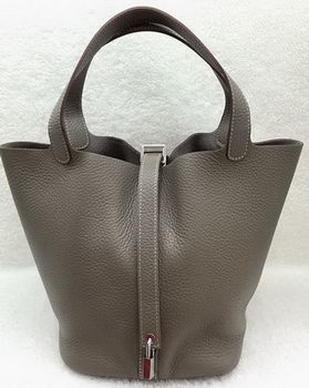 Hermes Picotin Lock 22cm Bags Litchi Leather HPL1048 Grey