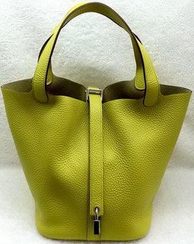 Hermes Picotin Lock 22cm Bags Litchi Leather HPL1048 Lemon
