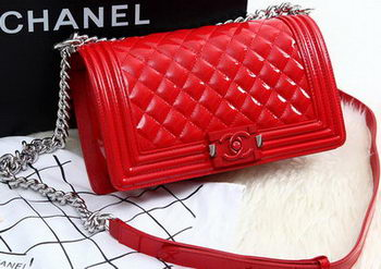 Boy Chanel Flap Bag Original Patent Leather A67086 Red