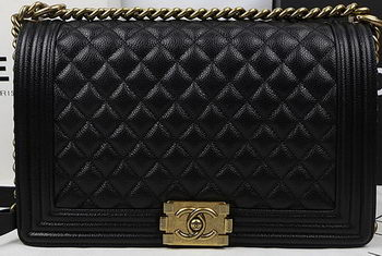 Boy Chanel Flap Bags Original Black Cannage Pattern A67088 Gold