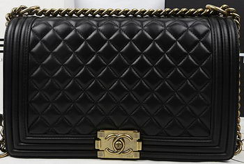 Boy Chanel Flap Bags Original Black Sheepskin Leather A67088 Gold