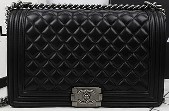 Boy Chanel Flap Bags Original Black Sheepskin Leather A67088 Silver