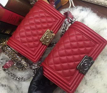 Boy Chanel Flap Shoulder Bag Cannage Pattern A67085 Red