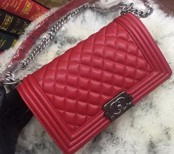 Boy Chanel Flap Shoulder Bag Cannage Pattern A67086 Red