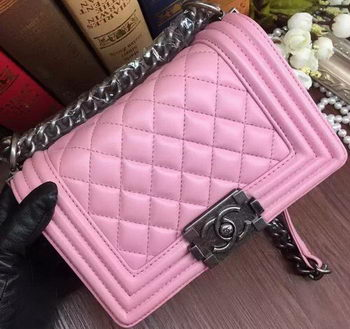 Boy Chanel Flap Shoulder Bags Sheepskin Leather A67085 Pink