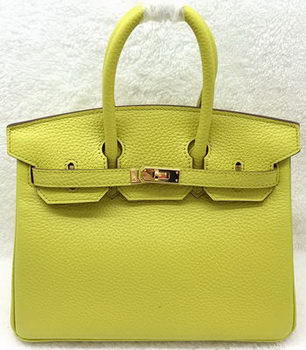 Hermes Birkin 25CM Tote Bag Original Leather H25T Lemon