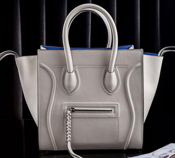 Celine Luggage Phantom Tote Bag Original Leather CLT3341 OffWhite&Blue