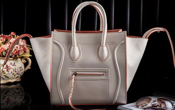 Celine Luggage Phantom Tote Bag Original Leather CLT3341 OffWhite&Orange