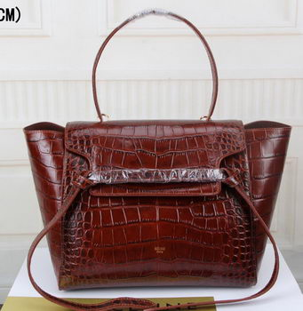 Celine Belt Bag Croco Leather C3368S Brown