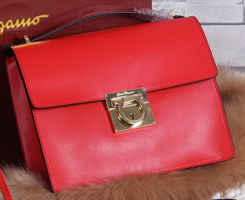 Ferragamo Calfskin Leather Medium Shoulder Bag SF0614 Red