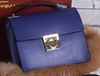 Ferragamo Calfskin Leather Medium Shoulder Bag SF0614 Royal