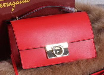 Ferragamo Calfskin Leather Medium Shoulder Bag SF099 Red