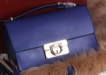 Ferragamo Calfskin Leather Medium Shoulder Bag SF099 Royal