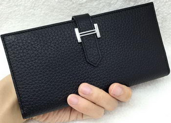 Hermes Bearn Japonaise Bi-Fold Wallet Litchi Leather A208 Black
