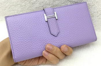 Hermes Bearn Japonaise Bi-Fold Wallet Litchi Leather A208 Lavender