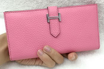 Hermes Bearn Japonaise Bi-Fold Wallet Litchi Leather A208 Pink