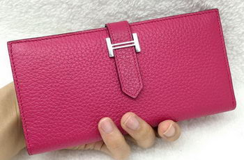 Hermes Bearn Japonaise Bi-Fold Wallet Litchi Leather A208 Rose