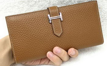 Hermes Bearn Japonaise Bi-Fold Wallet Litchi Leather A208 Wheat