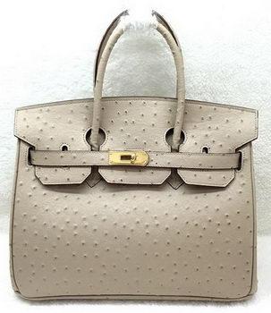 Hermes Birkin 30CM Tote Bags Ostrich Leather H30LI Apricot