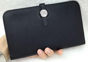 Hermes Dogon Combined Wallet Litchi Leather A508 Black