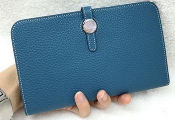 Hermes Dogon Combined Wallet Litchi Leather A508 Blue