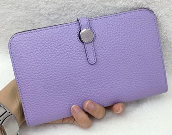 Hermes Dogon Combined Wallet Litchi Leather A508 Lavender