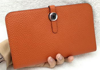 Hermes Dogon Combined Wallet Litchi Leather A508 Orange
