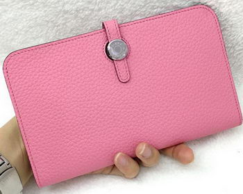 Hermes Dogon Combined Wallet Litchi Leather A508 Pink