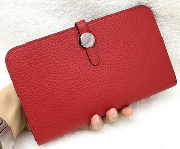 Hermes Dogon Combined Wallet Litchi Leather A508 Red
