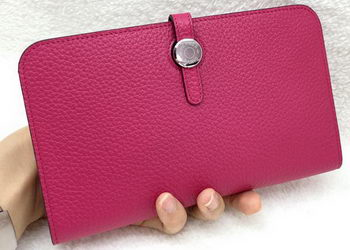 Hermes Dogon Combined Wallet Litchi Leather A508 Rose