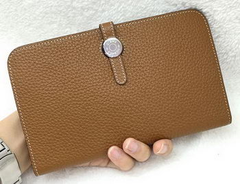Hermes Dogon Combined Wallet Litchi Leather A508 Wheat