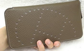 Hermes Evelyn Long Zip Wallet Litchi A808 Khaki
