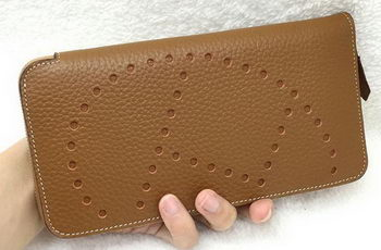 Hermes Evelyn Long Zip Wallet Litchi A808 Wheat