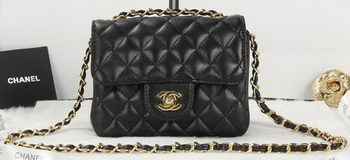 Chanel Classic MINI Flap Bag Black Sheepskin Leather A1115 Gold