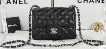 Chanel Classic MINI Flap Bag Black Sheepskin Leather A1115 Silver