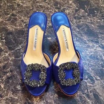 Manolo Blahnik Sandals Satin Canvas MB091 Blue