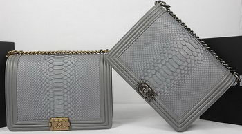 Boy Chanel Flap Bag Original Python Leather A67087 Grey