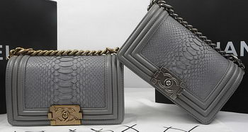 Boy Chanel mini Flap Bag Original Python Leather A67085 Grey
